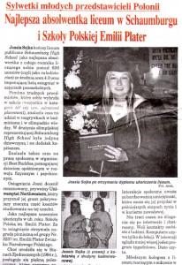 Artykuł o osiągnięciach licealistki Joanny Sojki ukazał się w Dzienniku Związkowym 13-15 czerwca 2003 roku fot.: archiwum