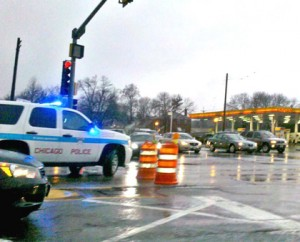 Blokada ulicy Irving Park Rd. i York Rd. fot.: Anna Kowalczyk-Barton
