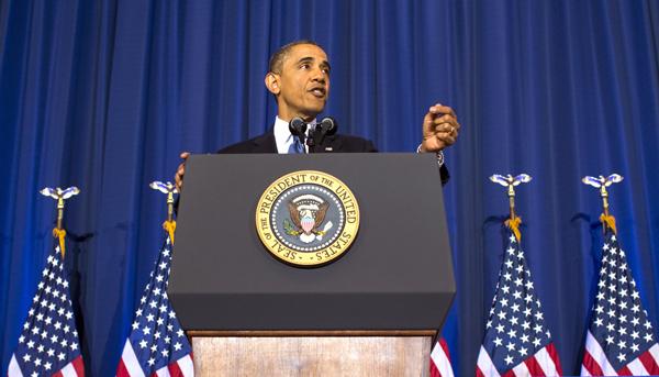 Barack Obama podczas przemówienia w Akademii Obrony fot. Narodowej Kristoffer Tripplaar/PAP/EPA