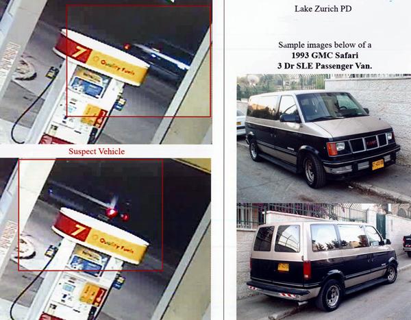 Zdjęcie samochodu, który potrącił Gabrysię zarejestrowane przez kamerę przemysłową na pobliskiej stacji benzynowej. Niestety, nie udało się uchwycić numerów rejestracyjnych pojazdu fot. Lake Zurich Police Dept.