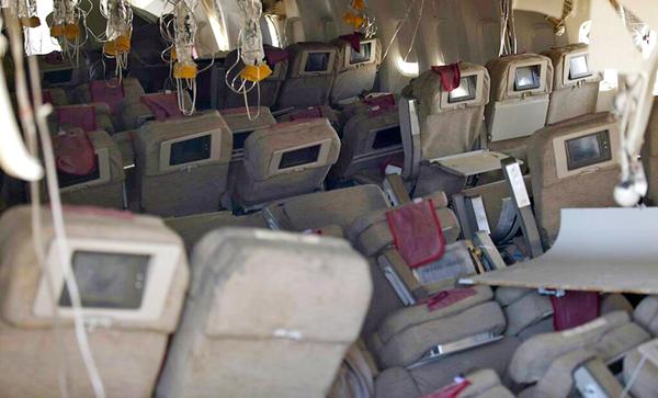Wnętrze samolotu Boeing 777, linii Asiana fot. National Transportation Safety Board
