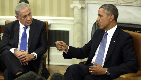 Barack Obama z Benjaminem Netanjahu fot.Chris Kleponis/ PAP/EPA