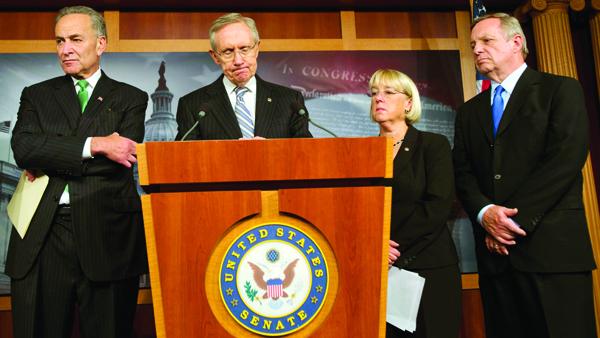 Demokraci zasiadający w Senacie: Harry Reid, Chuck Schumer, Patty Murray i Dick Durbin fot. Jim Lo Scalzo/PAP/EPA