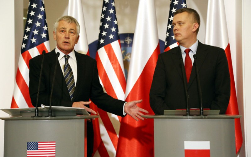 US secretary of defense Chuck Hagel in Warsaw