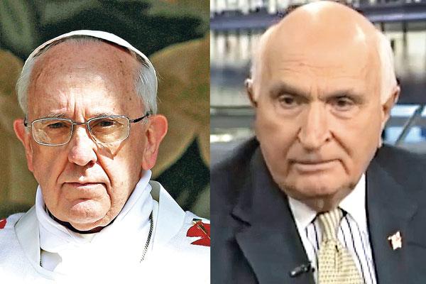 Papież Franciszek (z lewej) i Kenneth G. Langone (z prawej)  fot.Maurizio Brambatti/PAP/EPA/YouTube