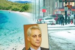 Śnieg i mróz, a burmistrz Chicago Rahm Emanuel w ciepłych krajach