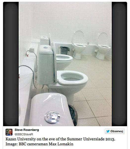 Uniwersytet w Kazaniu bije na głowę Soczi w … liczbie toalet w jednej łazience fot.Steve Rosenberg/Twitter