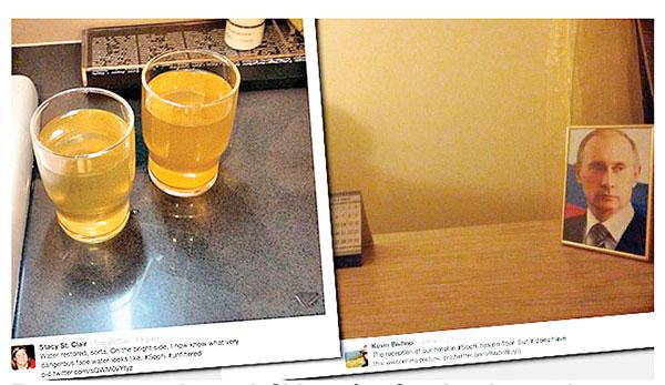 Brązowa woda w szklnakach i portret Putina w recepcji hotelu, która nie istniejefot.Twitter