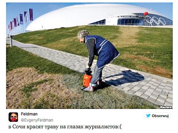 Barwienie trawy na zielono fot.Feldman/Twitter