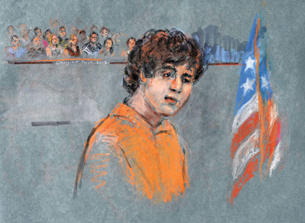 Szkic sądowy Dżochara Carnajewa fot. Margaret Small/PAP/EPA