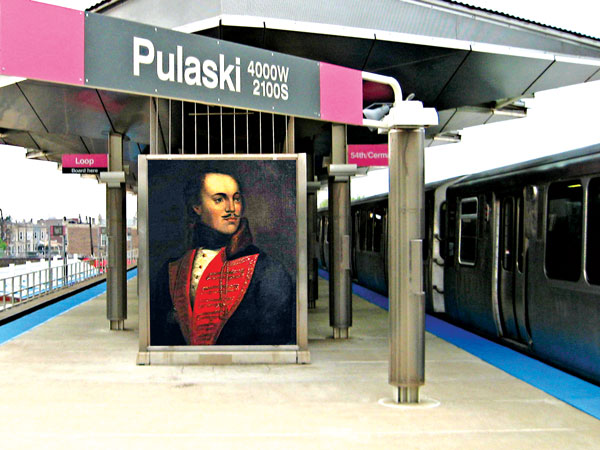 """Stacja """"Pulaski"""" Różowej Linii kolejki CTA w Chicago. Portret Pułaskiego niezidentyfikowanego autora z kolekcji Muzeum w Savannah fot.Zol87/Marcin K./Wikipedia"""