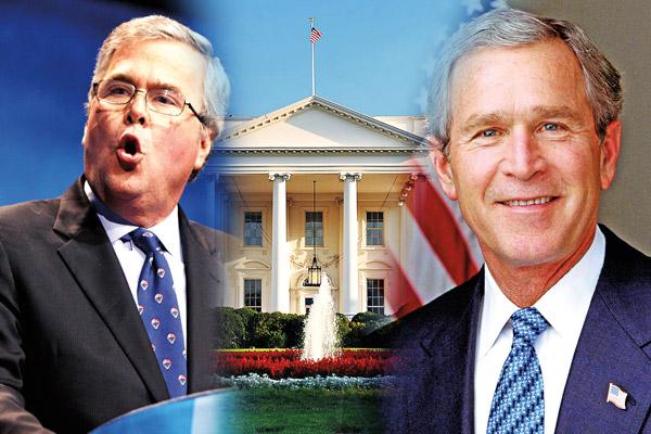 Jeb Bush (z lewej), który rozpoczyna swój wyścig do fotela prezydenta i George W. Bush, 43 prezydent USA, który zakończył urzędowanie w Białym Domu w 2009 roku    fot.Gage Skidmore/Wikipedia/Eric Draper/White House