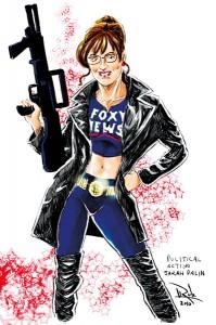 Sarah Palin. Karykatura Roba Cabrera fot.deviantart