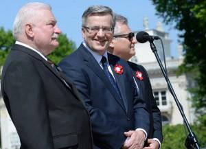 (L-R) Lech Walesa, Bronislaw Komorowski and Aleksander Kwasniewski  Photo: Jacek Turczyk/PAP/EPA