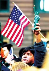 Leobardo Media podczas demonstracji imigrantów w Chicago   fot.Stephen J. Carrera/EPA