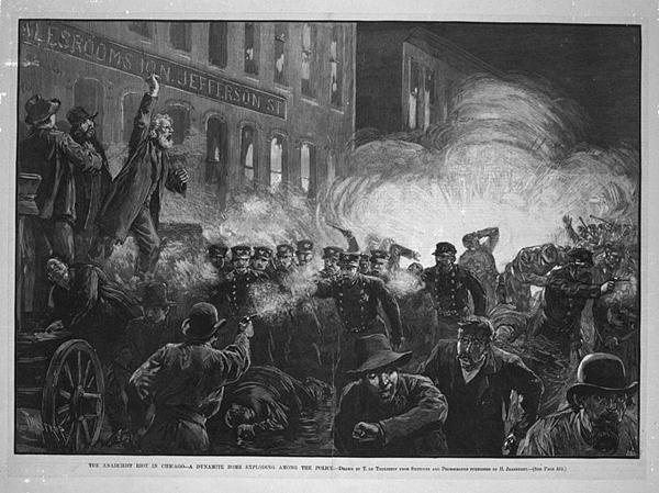 Manifestacja w Haymarket fot.Harper's Weekly/Wikipedia