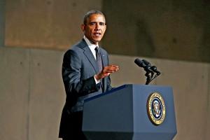 Prezydent Barack Obama podczas inauguracji muzeum 11 września  fot.Chris Pedota/POOL/PAP/EPA