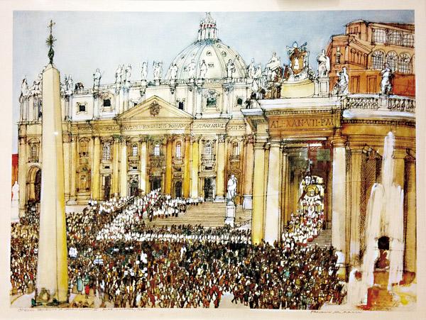 """Prace z wystawy """"Podróże Jana Pawła II - Obejmowanie świata i Świat Drugiego Soboru Watykańskiego"""""""
