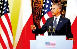 Prezydent Barack Obama podczas konferencji prasowej w Belwederze fot.Bartłomiej Zborowski/PAP/EPA