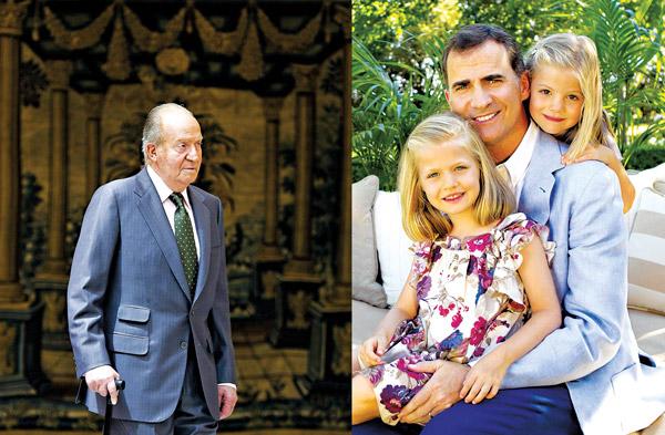 Hiszpański król Juan Carlos (z lewej) abdykował na rzecz swojego syna, księcia Filipa V (na zdjęciu z córkami Leonor i Sofia) fot.Javier Lizon/Christina Garcia Rodero/Handout/EPA