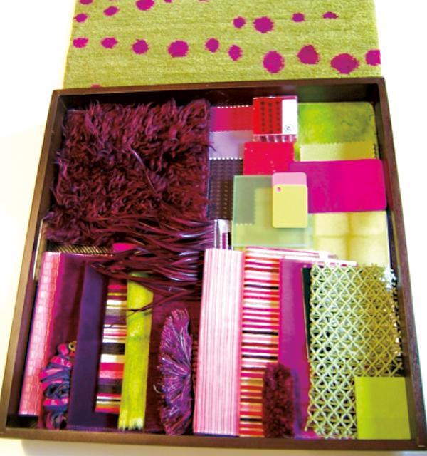 """""""Promienna Orchidea"""" zastosowana jako wiodący kolor do prezentacji różnych tkanin i materiałów wykończeniowych dla inwestorów przyszłego przedszkola w Chicago"""