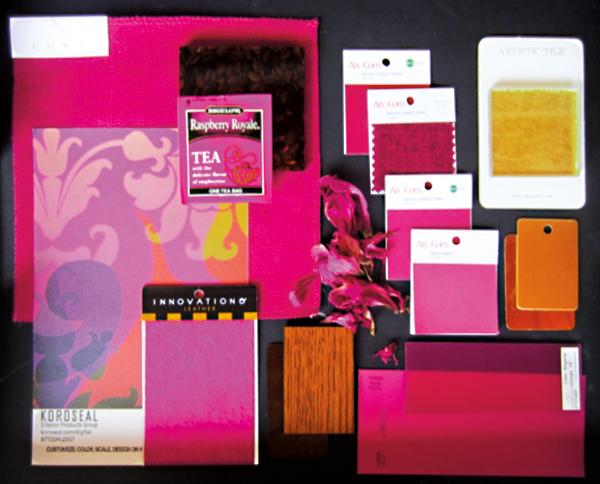 """""""Radian Orchid"""" użyty w prezentacji materiałów wykończeniowych jako wiodący kolor do wnętrz przyszłej kawiarni """"Tea & Coffee House"""" w Chicago"""