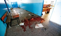 A pool of blood in a UN-operated school after an Israeli air strikes in Beit Hanun town, northern Gaza strip, 24 July 2014. At least 16 Palestinians were killed, among them seven children, and some 200 injured when an UN-operated school north of Gaza City was struck by Israeli tank shells, the Gaza Health Ministry said. Witnesses, who were in the school run by the United Nations for Relief and Work Agency (UNRWA), said Israeli tanks fired four shells at the school. fot.Mohammed Saber/EPA