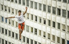 A slackline balances across skyscrapers during the 6th Urban Highline Festival in Lublin, Poland, 26 July 2014. This festival is the one biggest highline festival on the world, was attended by 170 participants from 21 countries.  EPA/Wojciech Pacewicz