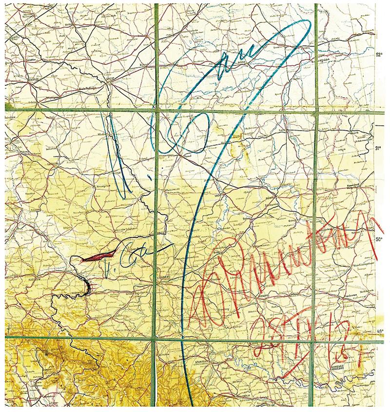 Mapa-załącznik do radziecko-niemieckiego traktatu o granicach i przyjaźni z 28 września 1939 r. z ostatecznym określeniem obszarów Polski zajętych przez ZSRR i Trzecią Rzeszę, niebieski kolor podpis Józefa Stalina, czerwony kolor - podpis Joachima von Ribbentropa (reprodukcja wydana przez Politische Archiv des Auswärtigen Amts) fot.msz.gov.pl