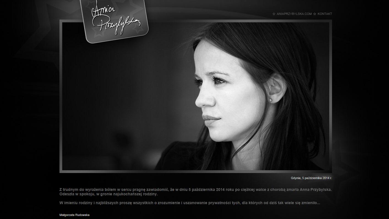 O śmierci aktorki na oficjalnej stronie aktorki poinformowała jej menedżerka fot. Aniaprzybylska.com