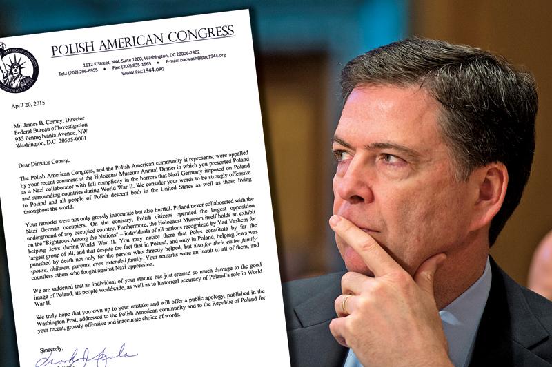 James Comey, szef FBI,  otrzymał list od Franka Spuli, prezesa KPA-PNA fot.Shawn Thew/EPA