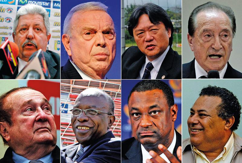 Wysocy rangą działacze FIFA aresztowani w Zurychu (górny rząd od lewej): Rafael Esquivel, Jose Maria Marin, Eduardo Li,Eugenio Figueredo,Nicolas Leoz, Jack Warner, Jeffrey Webb, Julio Rocha fot.EPA