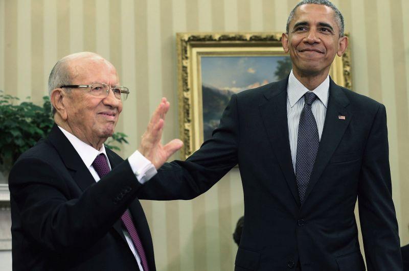 Prezydent Tunezji Beji Caid Essebsi i Prezydent USA Barack Obama   fot.Chip Somodevilla/EPA