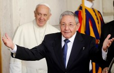 Cuban President Raul Castro arrives at Vatican City to meet Pope Francis