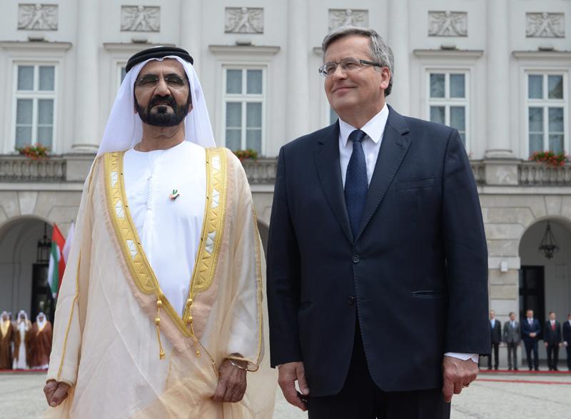 Emir Dubaju szejk Mohammed bin Rashid Al-Maktouma i prezydent Bronisław Komorowski fot.Jacek Turczyk/EPA