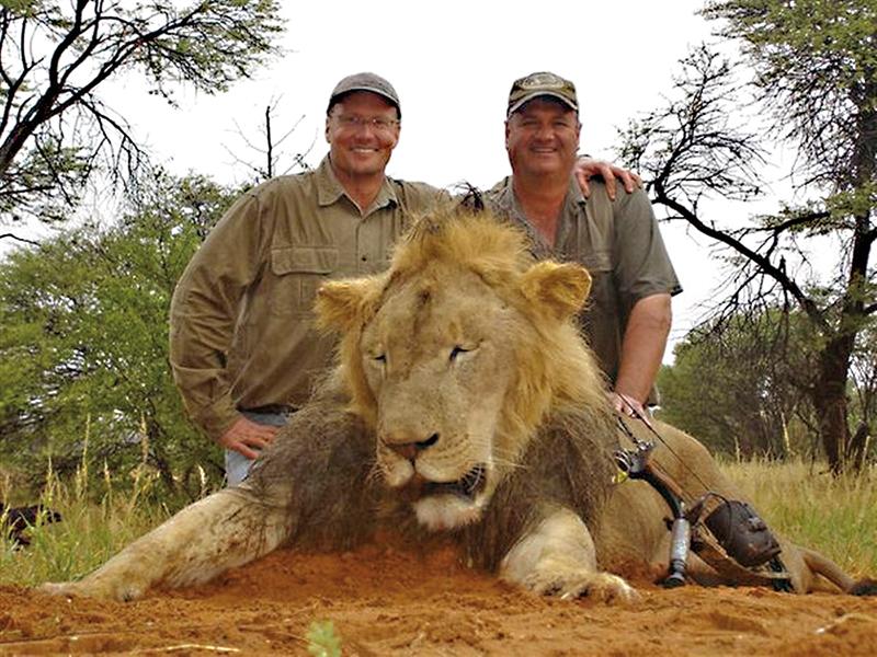 Walter Palmer (z lewej) nad zabitym przez niego lwem Cecilem fot.Walter Palmer Twitter