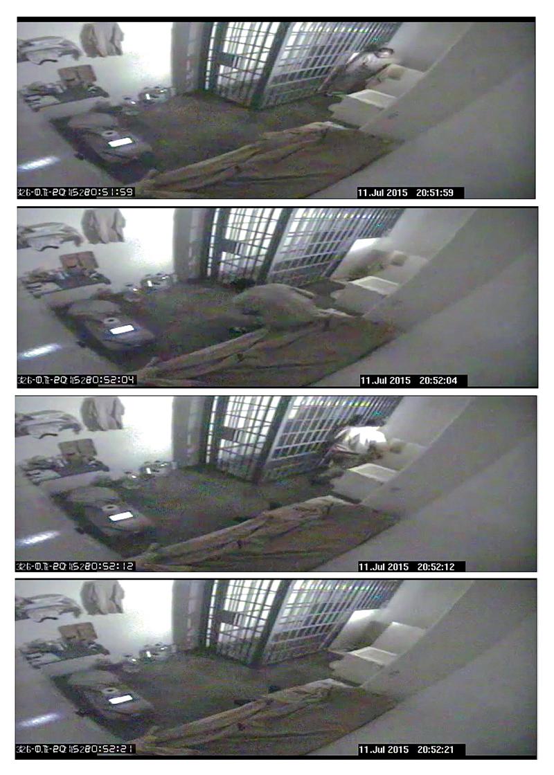Zniknięcie Guzmana zarejestrowane przez kamerę w jego celi fot.National Commission of Security of Mexico (CNS)/EPA