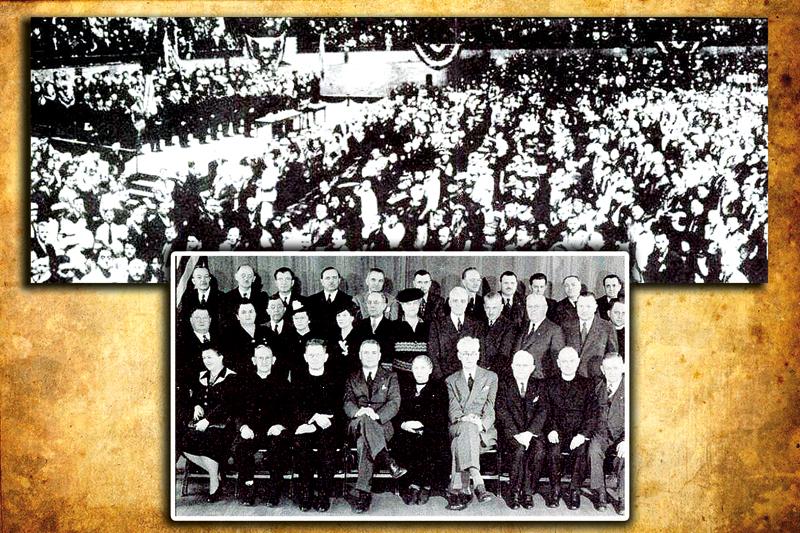 Na fotografii u góry: w I zjeździe Kongresu Polonii Amerykańskiej w Buffalo w stanie Nowy Jork w 1944 roku wizęło udział ponad 2,6 tys. delegatów z 26 stanów oraz ponad 7 tys. zaproszonych gości  fot.arch. KPA Na mniejszej fotografii: marzec 1944 roku, w Chicago, uczestnicy spotkania, którzy zaplanowali powstanie KPA.