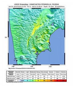 epa05134404 A handout shakemap released by the US Geological Survey (USGS) on 30 January 2016 shows the location of a 7.2 magnitude earthquake striking north of Petropavlovsk-Kamchatskiy, Kamchatka Peninsula, Russia. There are no immediate reports on casualties or damage, notsunami warning was issued.  EPA/USGS / HANDOUT  HANDOUT EDITORIAL USE ONLY