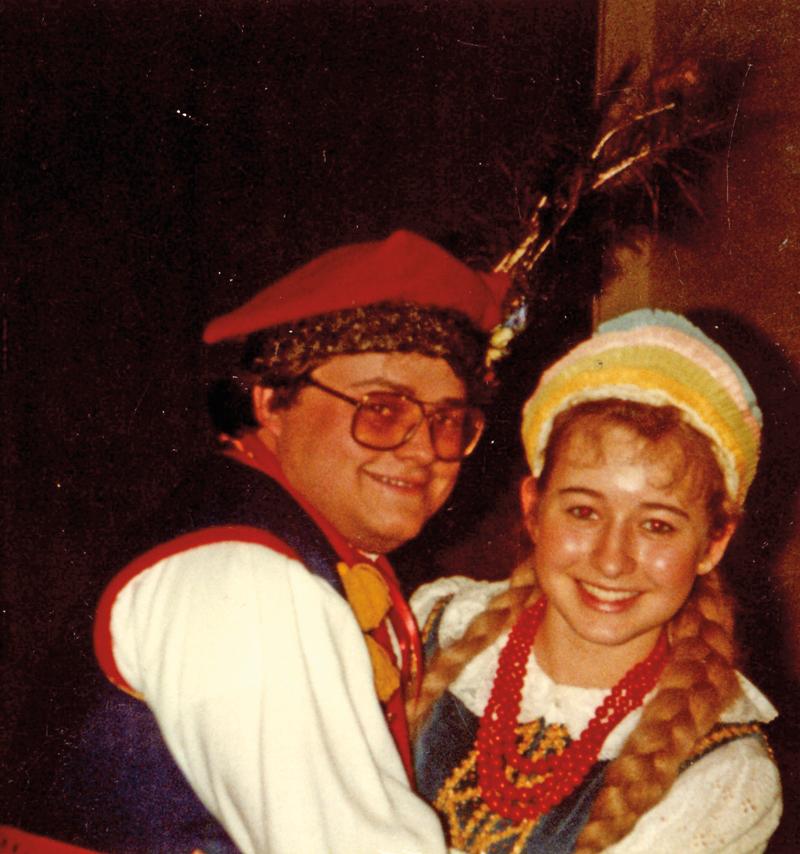 Tadeusz Więcek z Marysią (Łysy) Thomas po koncercie w 1984 roku fot.arch. zespołu Lechici