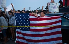 Protest against US presidential candidate Donald Trump in Costa Mesa, California