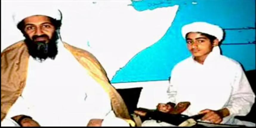 Osama bin Laden z synem, Hamzą fot. YouTube.com
