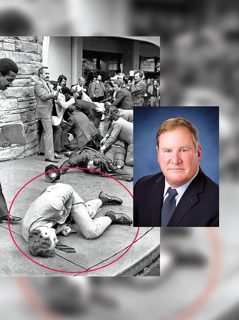 Na fot. archiwalnej, na pierwszym planie agent Secret Service Timothy McCarthy (leży). Obok - aktualna fotografia  fot.Ron Edmonds/AP/www.orland-park.il.us