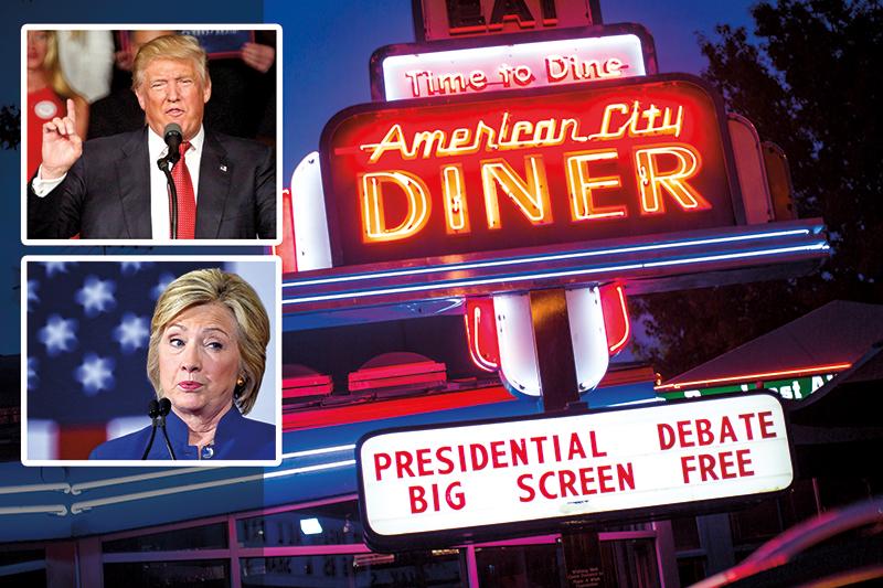 Restauracja w Waszyngtonie zaprasza na oglądanie debaty Hillary Clinton - Donald Trump fot.Jim Lo Scalzo, Cristobal Herrera/EPA