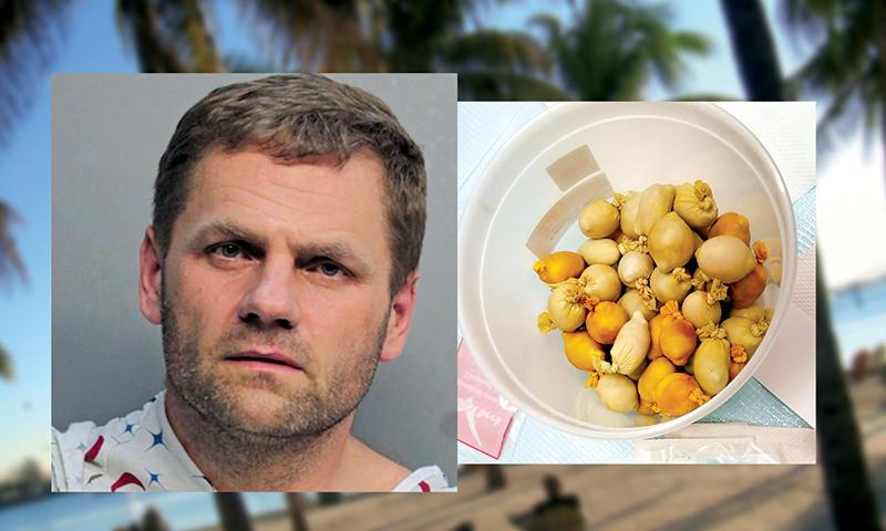 Waldemar Wojtczak i zawartość jego zołądka - 53 woreczki z kokainą fot.Miami-Dade Police Department/Corrections/tpsdave/pixabay.com