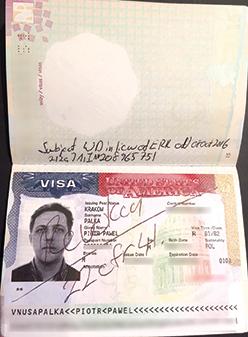 Amerykańska wiza została w paszporcie Piotra Pałki skasowana fot.arch. Piotra Pałki