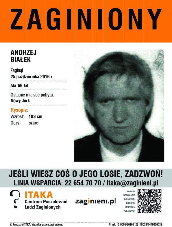 25 października 2016 r. zaginął Andrzej Białek