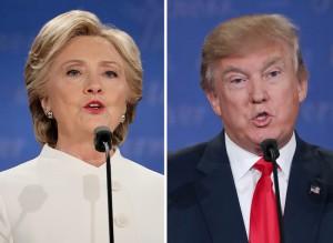 Hillary Clinton i Donald Trump fot.Andrew Gombert, Jim Lo Scalzo/EPA