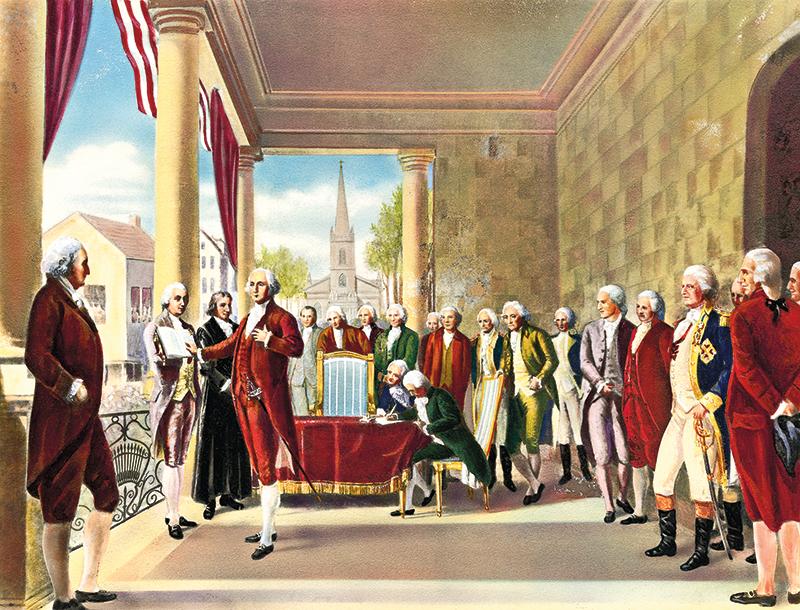 Jerzy Waszyngton składa przysięgę, 30 kwietnia 1789 roku  fot.Ramon de Elorriaga, Encyclopedia Britannica/Wikipedia