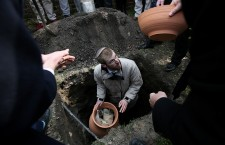Burial ceremony of Torah scrolls at the Jewish cemetery in Warsaw